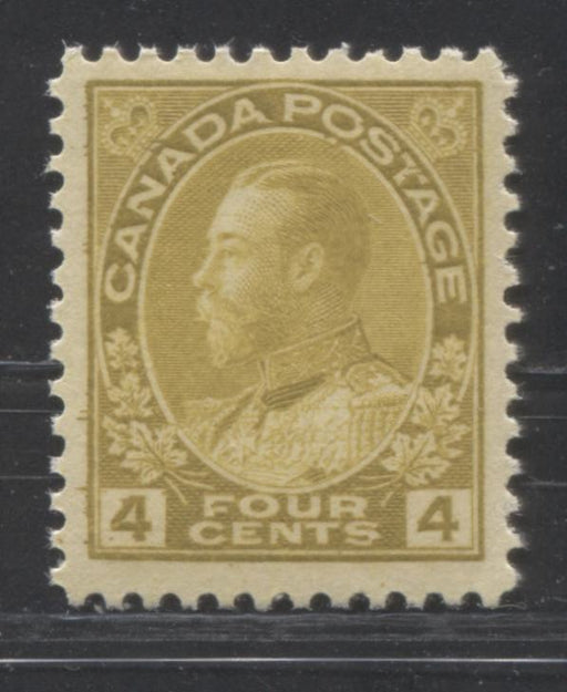 Canada #110 (SG#249) 4c Olive Bistre 1911-1928 Admiral Issue Wet Printing, A Very Fine NH Example