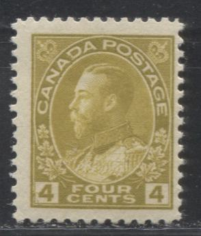Canada #110 (SG#249) 4c Olive Bistre 1911-1928 Admiral Issue Wet Printing, A Fine LH Example
