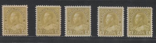 Canada #110/110d 4c Olive Bistre, Yellow Olive and Yellow Ochre, King George V 1911-1928 Admiral Issue Very Fine Mint OG Examples of the Wet and Dry Printings, Representing 3 of the Listed Shades