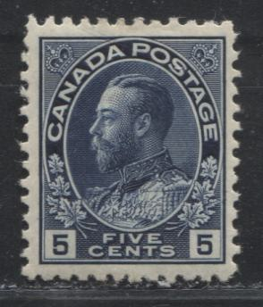 Canada #111a (SG#206) 5c Bright Indigo King George V, 1911-27 Admiral Issue, A Very Fine OG Example Showing the Retouched UR Frameline