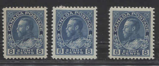 Canada #115-115i 8c Blue and Light Blue, King George V 1911-1928 Admiral Issue Very Fine Mint OG Examples of Both Listed Shades, Plus an Extra Variant