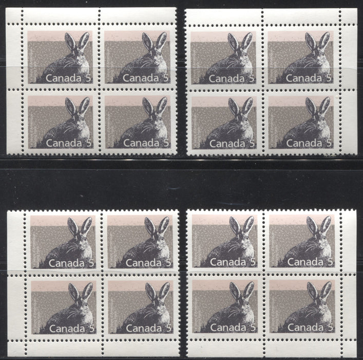 Canada #1158 5c Varying Hare 1988-1991 Wildlife and Architecture Issue, a VFNH Set of Field Stock Corner Blocks on NF/DF Slater Paper