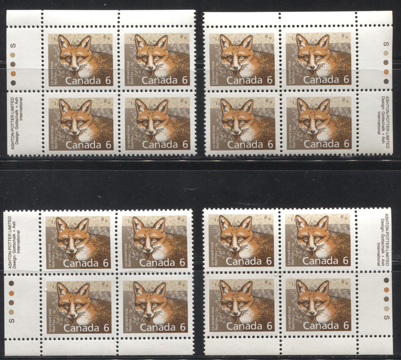 Canada #1159 6c Red Fox 1988-1991 Wildlife and Architecture Issue, a VFNH Set of Inscription Blocks on NF/DF Slater Paper