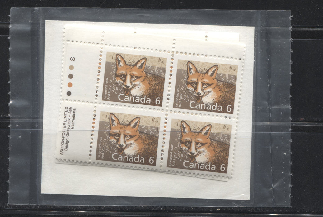 Canada #1159 6c Red Fox 1988-1991 Wildlife and Architecture Issue, a VFNH Sealed Pack of Inscription Blocks on NF/DF Slater Paper, Type 4 Pale Blue HB Card Insert