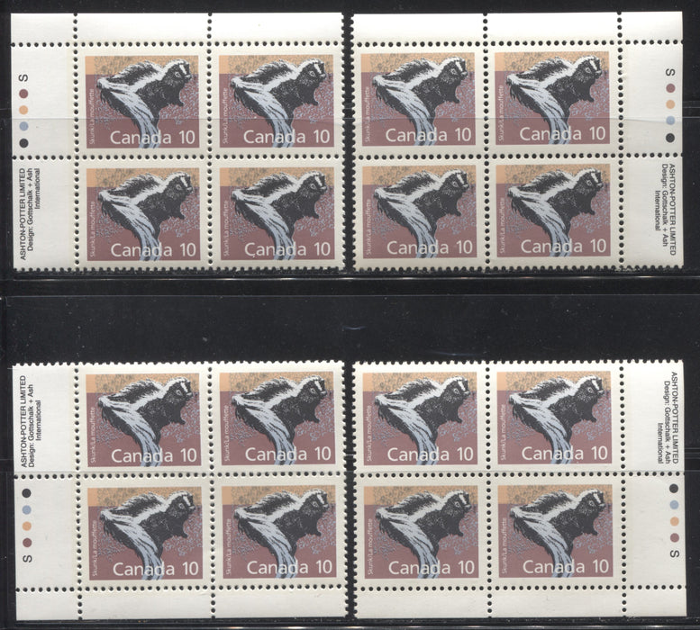 Canada #1160 10c Skunk 1988-1991 Wildlife and Architecture Issue, a VFNH Set of Inscription Blocks on NF/DF Slater Paper