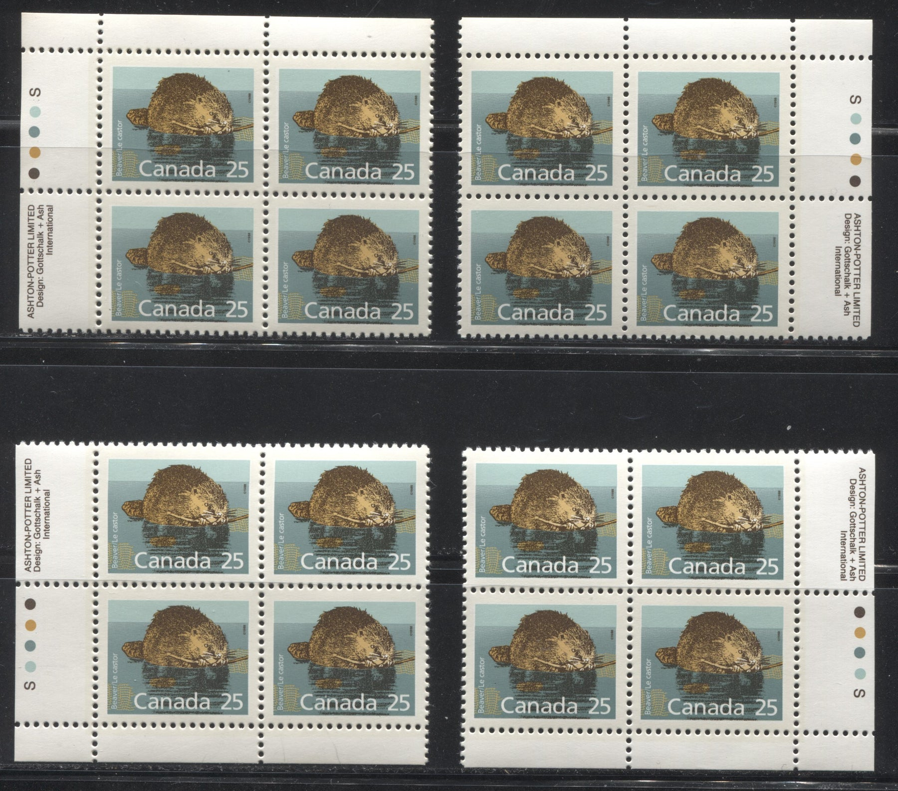 Canada #1161 25c Beaver 1988-1991 Wildlife and Architecture Issue, a VFNH Set of Inscription Blocks on NF/DF Slater Paper