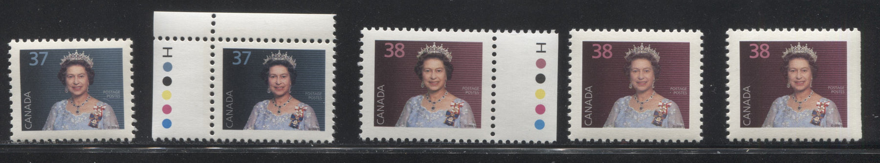 Canada #1162, 1164-1164as 37c-38c Queen Elizabeth II 1988-1991 Wildlife and Architecture Issue, a VFNH Specialized Group of 5 Stamps, Different Papers