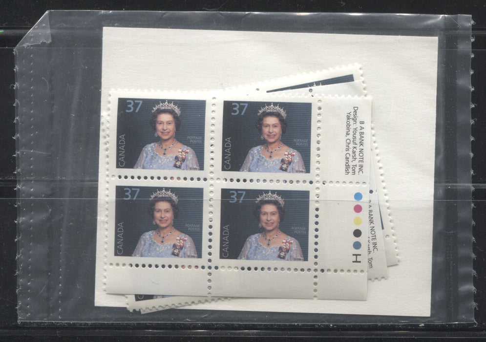 Canada #1162 37c Queen Elizabeth II 1988-1991 Wildlife and Architecture Issue, a VFNH Sealed Pack of Inscription Blocks on NF/DF Harrison Paper, Type 4a Pale Blue DF Card Insert