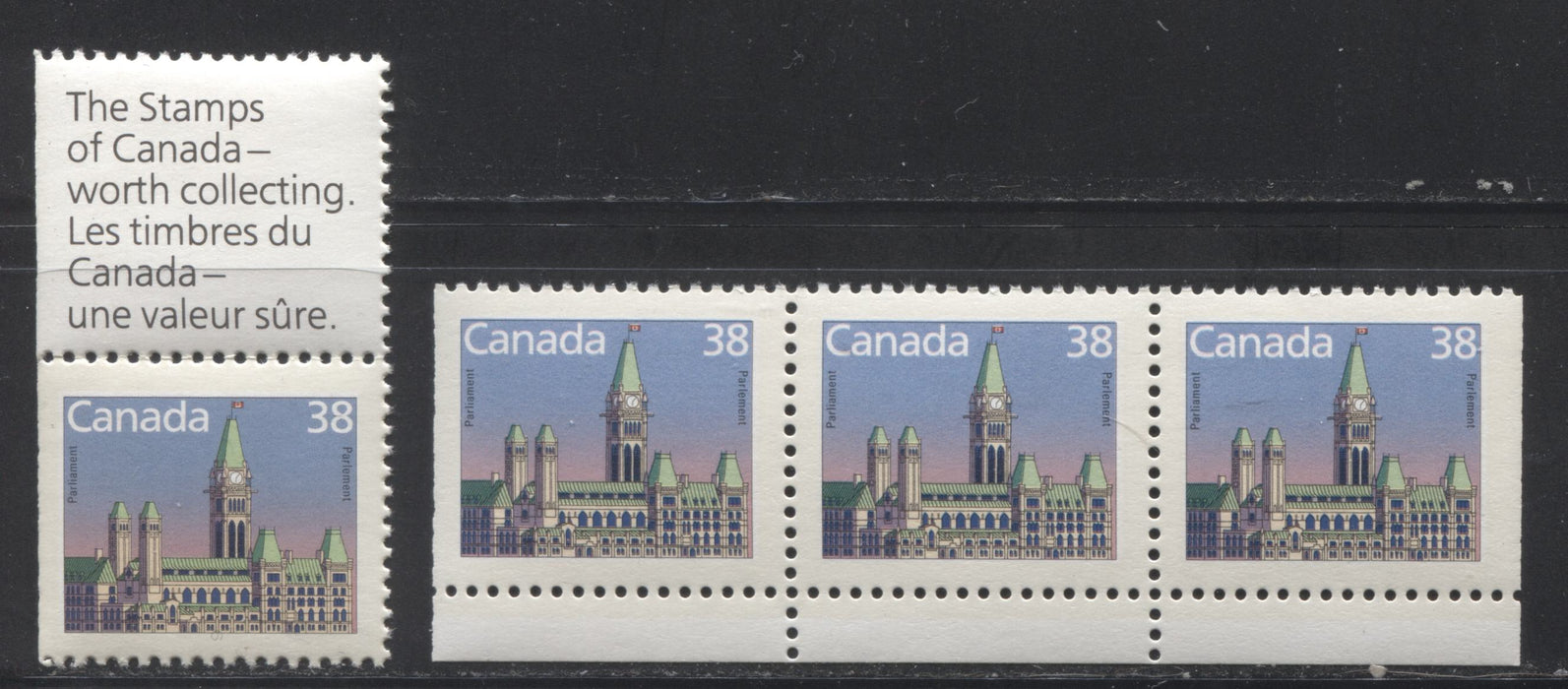 Canada #1165as 38c Parliament Buildings 1988-1991 Wildlife and Architecture Issue, a VFNH Stamp-Label Pair and Strip of 3 From the Large Booklet, NF/DF Slater Paper