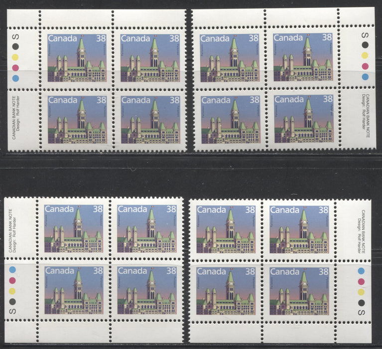 Canada #1165 38c Parliament Buildings 1988-1991 Wildlife and Architecture Issue, VFNH Matched Set of Inscription Blocks on NF/DF Slater Paper
