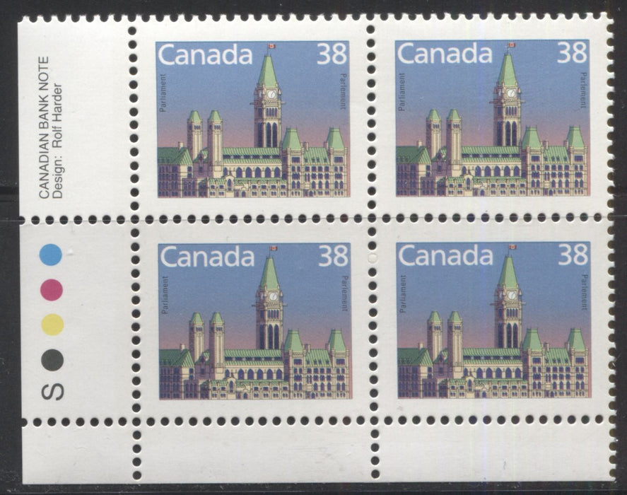 Canada #1165 38c Parliament Buildings 1988-1991 Wildlife and Architecture Issue, a VFNH LL Inscription Block on Unlisted NF/LF-fl Slater Paper