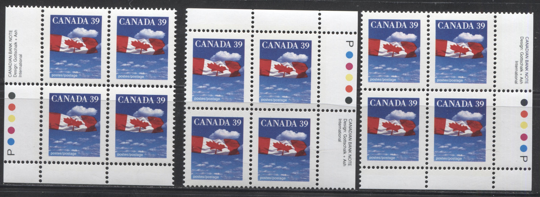 Canada #1166 39c Canadian Flag 1988-1991 Wildlife and Architecture Issue, VFNH UR, LL and LR Inscription Blocks on DF/LF Peterborough Paper, Perf. 13.6 x 13.1
