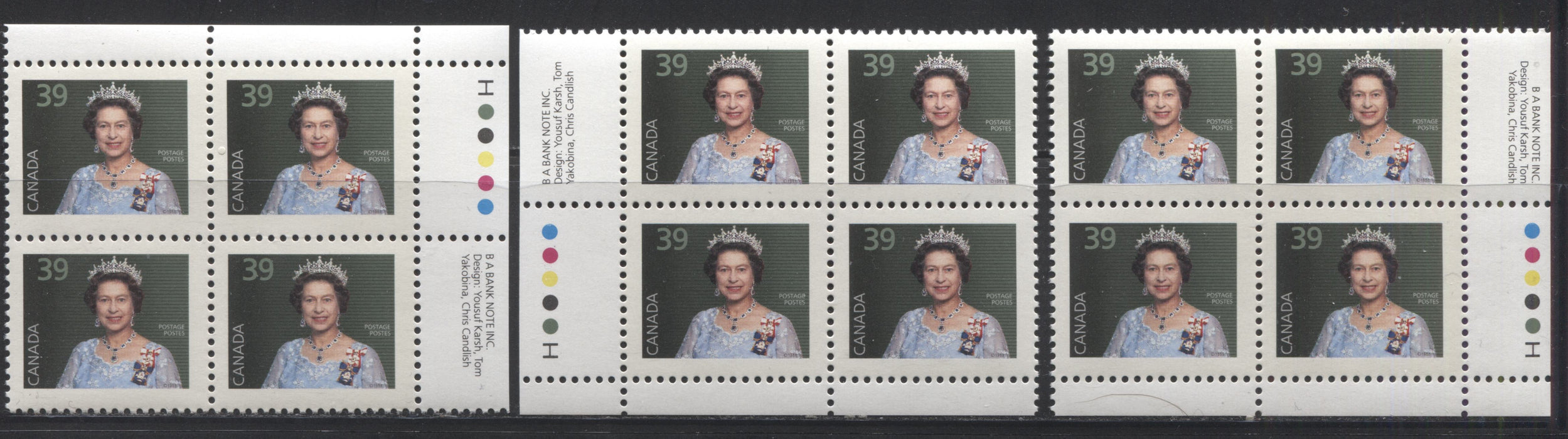 Canada #1167 39c Queen Elizabeth II 1988-1991 Wildlife and Architecture Issue, VFNH UR, LL and LR Inscription Blocks on NF/LF Harrison Paper