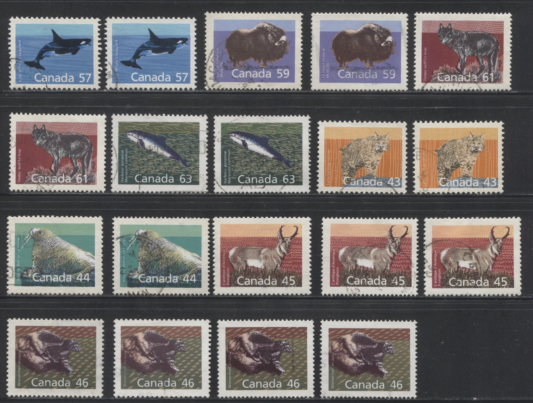 Canada #1170-1176a 44c-63c Mammals 1988-1991 Wildlife and Architecture Issue, a VF Used Specialized Group of 19 Stamps on Different Papers and With Various Perfs