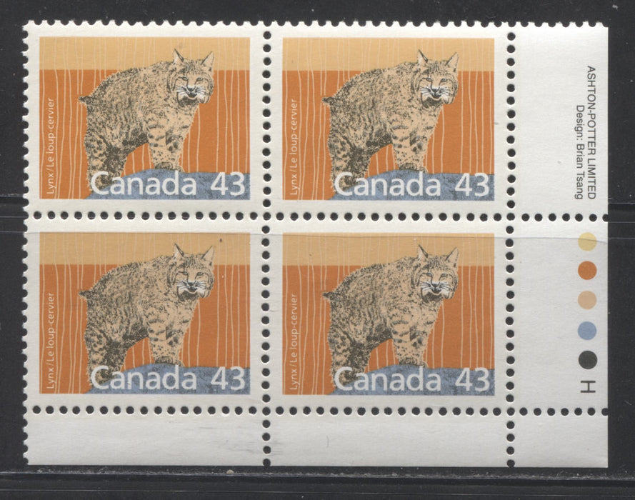 Canada #1170 43c Lynx 1988-1991 Wildlife and Architecture Issue, A VFNH LR Inscription Block on Unlisted NF/LF Harrison Paper