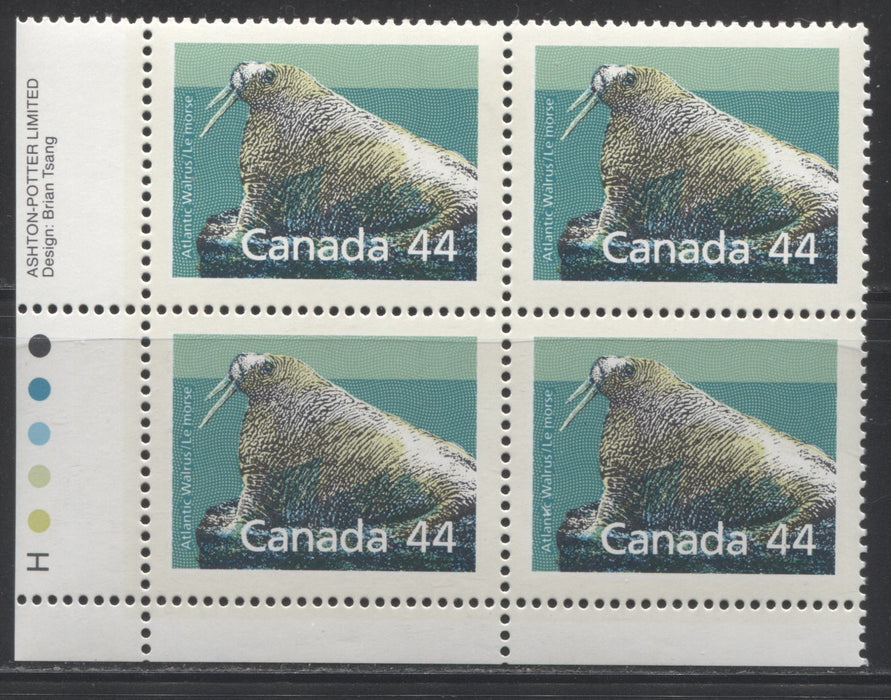 Canada #1171 44c Multicolored Atlantic Walrus 1988-1991 Wildlife and Architecture Issue, VFNH LL Inscription Block on NF/DF Harrison Paper