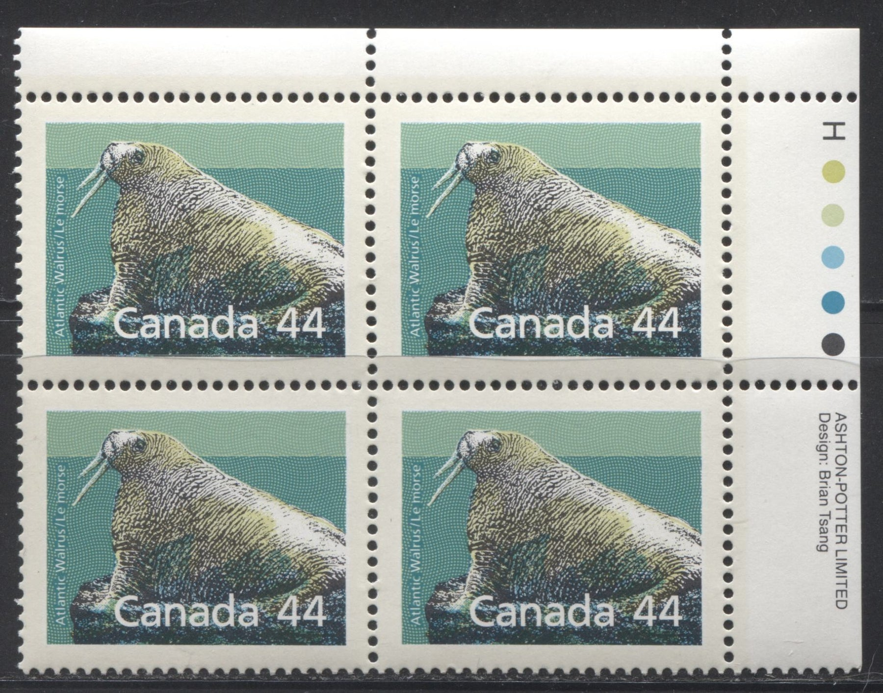 Canada #1171 44c Multicolored Atlantic Walrus 1988-1991 Wildlife and Architecture Issue, VFNH UR Inscription Block on NF/DF Harrison Paper