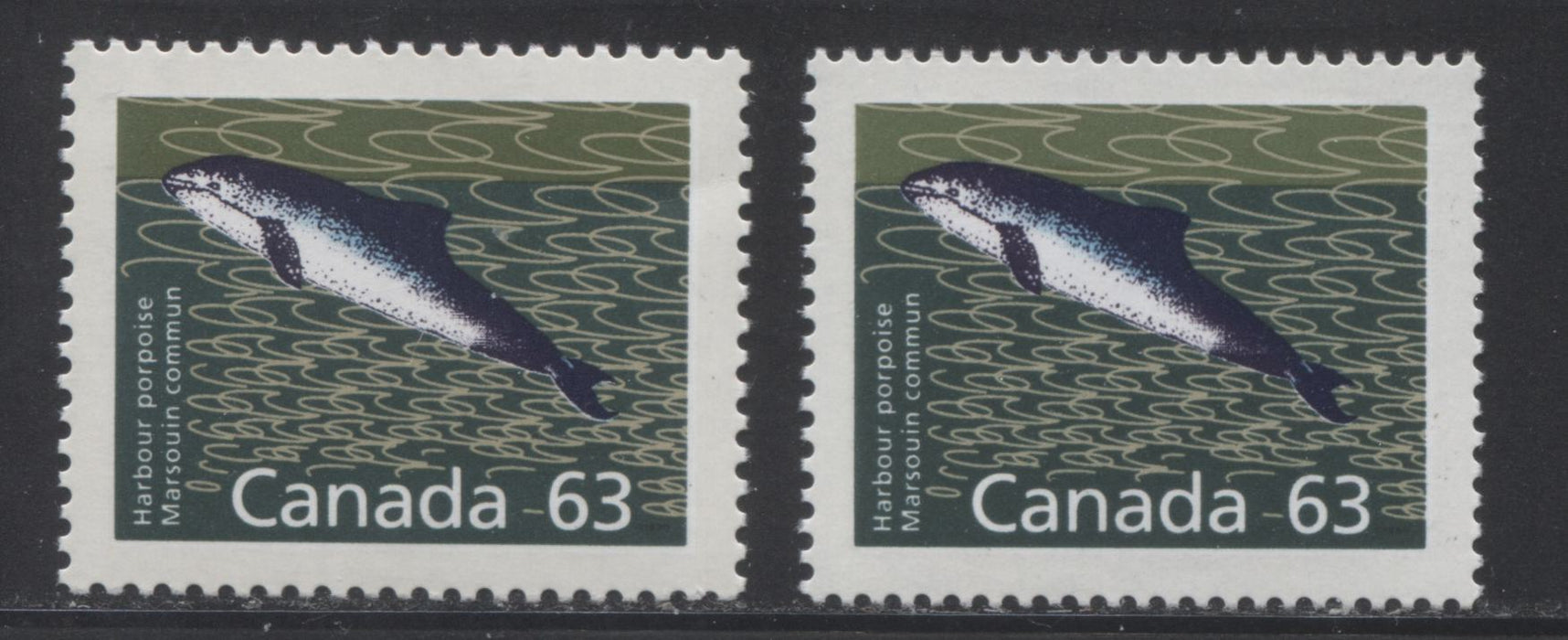 Canada #1176-1176a 63c Harbour Porpoise, 1988-1991 Wildlife and Architecture Issue, VFNH Examples of Both Perfs