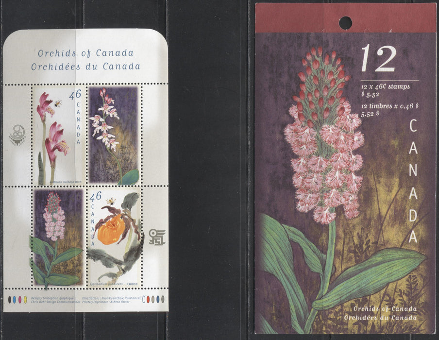 Canada #1790a, b 46c Multicoloured, 1999 Orchids Issue, VFNH Examples of the Souvenir Sheet and The Complete Booklet Containing All The Stem Varieties