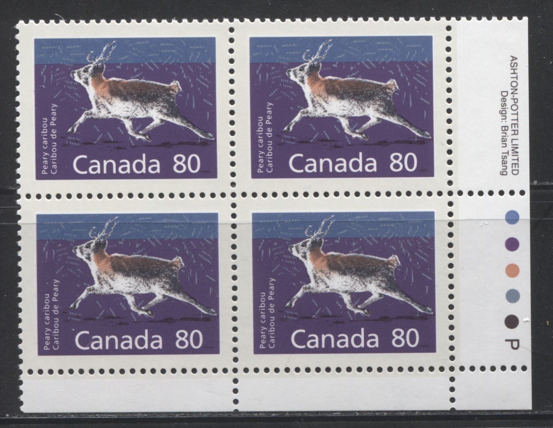 Canada #1180 80c Peary Caribou 1988-1991 Wildlife and Architecture Issue, VFNH LR Inscription Block on DF/LF Peterborough Paper