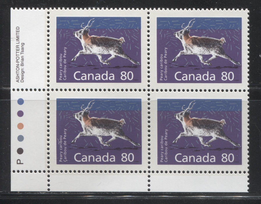 Canada #1180c 80c Peary Caribou 1988-1991 Wildlife and Architecture Issue, VFNH LL Inscription Block on DF/LF Peterborough Paper, Perf. 14.4 x 13.8