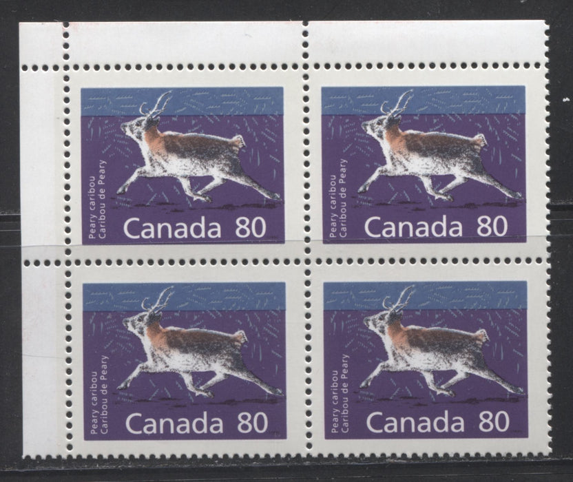 Canada #1180c 80c Multicolored Peary Caribou 1988-1991 Wildlife and Architecture Issue, VFNH UL Field Stock Block on Unlisted DF/LF Peterborough Paper