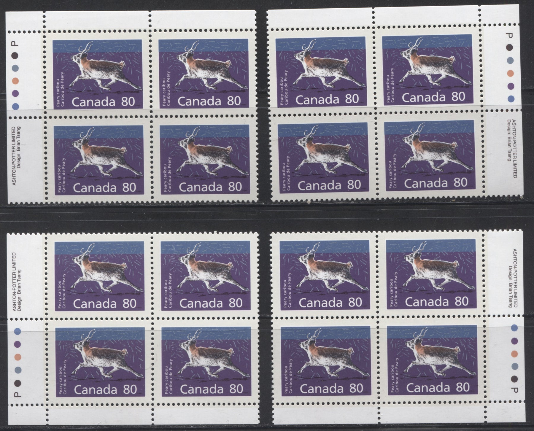 Canada #1180 80c Peary Caribou 1988-1991 Wildlife and Architecture Issue, a VFNH Matched Set of Inscription Blocks on DF/DF Peterborough Paper
