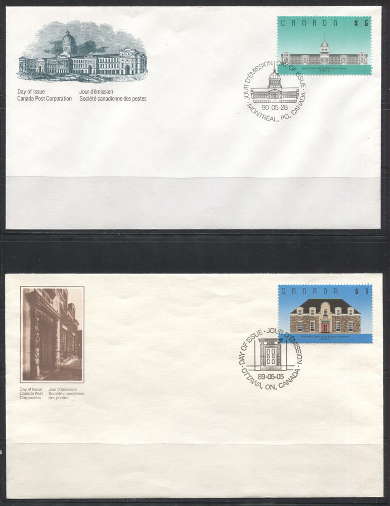 Canada #1181-1183 $1-$5 1989-1990 Architecture Definitives, A Group of 4 Canada Post Official First Day Covers