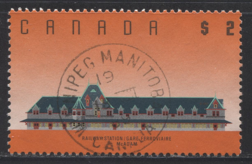 Canada #1182 $2 McAdam Railway Station 1988-1991 Wildlife and Architecture Issue, a VF SON CDS Used Example of the Harrison Paper Printing, Winnipeg, MB, August 18, 1989