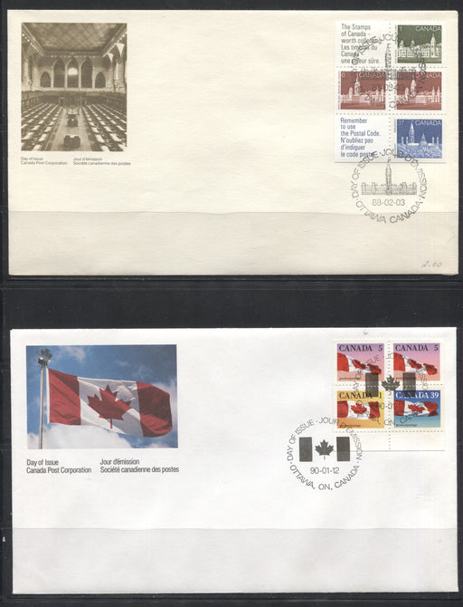 Canada #1187a, 1189a, 1190a 50c 1988-1990 Booklet Panes, A Group of 3 Canada Post Official First Day Covers