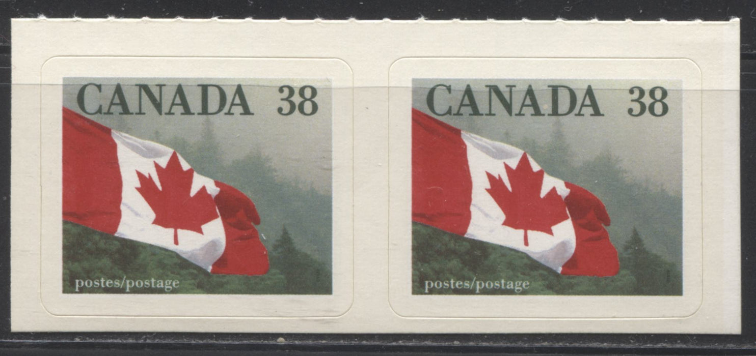 "Canada #1191var 38c Canadian Flag 1988-1991 Wildlife and Architecture Issue, a VFNH Pair Showing a Pink Dot Between D and A of ""Canada"""