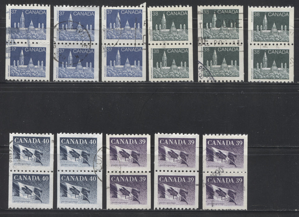 Canada #1194-1194C 37c-40c Canadian Flag & Parliament Buildings 1988-1991 Wildlife and Architecture Issue, a VF Used Set of Coil Pairs, Including Most Listed Paper Types, Plus Additional Varieties