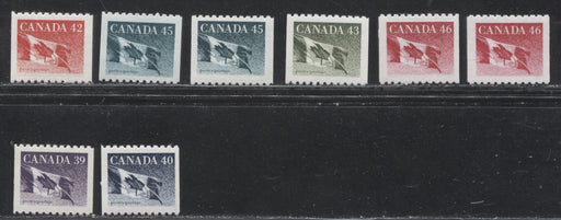 Canada #1194B/1695 39c-46c Canadian Flag Coils From 1989-1998 Definitive Issues, Group of 8 Different Singles on Various Papers, VFNH