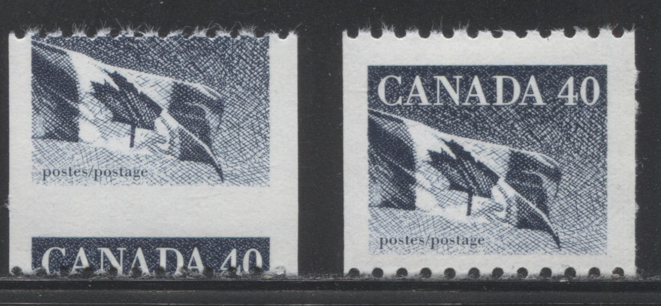 "Canada #1194Cvar 40c Grey Blue Canadian Flag 1988-1991 Wildlife and Architecture Issue, a VFNH Coil Single Showing Dramatic Misperf, Resulting in ""H"" Tagging"