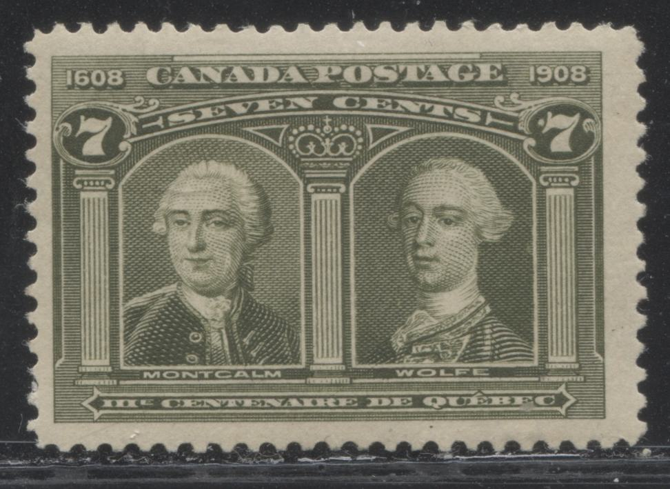 Canada #100 (SG#192) 7c Olive Green Quebec Tercentenary Issue, A Fine Mint Expertly Regummed Example