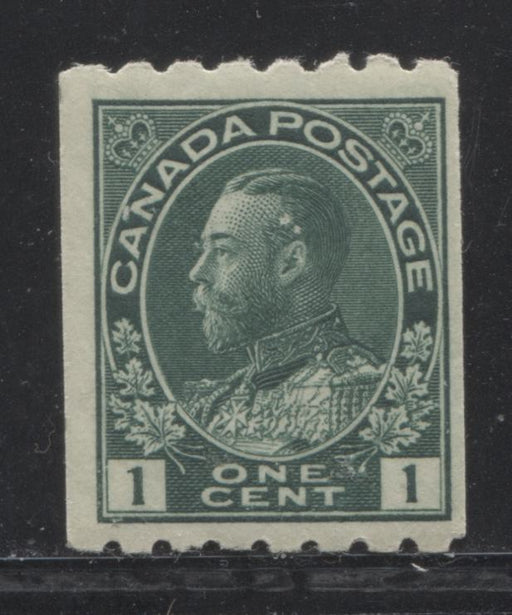 Canada #123 1c Deep Blue Green 1911-27 Admiral Issue Perf. 8 Horizontal, A Fine Mint OG Example