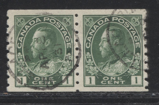 Canada #125 (SG#219) 1c Deep Green 1911-27 Admiral Issue Perf. 8 Vertical, A Very Fine Used Coil Pair