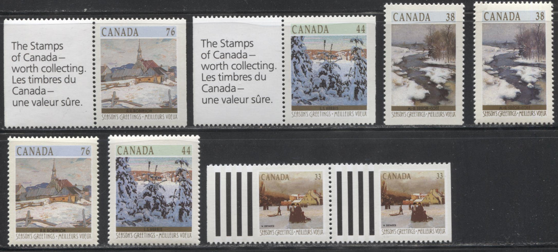 Canada #1256-1259 33c-76c Multicoloured, 1989 Christmas Issue, a VFNH Complete Set of Sheet Stamps and Booklet Pairs.