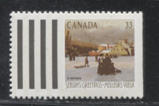 Canada #1259ii 33c Multicoloured, 1988 Christmas Issue, A VFNH Example of the Greet More Booklet Stamp on the Scarce High Fluorescent Paper