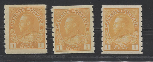 Canada #126, 126d 1c Yellow Orange, King George V 1911-1928 Admiral Issue Fine Mint NH Examples of the Wet and Dry Printings and Both Dies