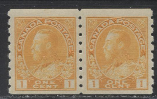 Canada #126 (SG#256b) 1c Pale Bright Orange Yellow King George V, 1911-27 Admiral Issue, a Fine NH Die 2 Dry Printing Coil Pair, Perf. 8 Vertically