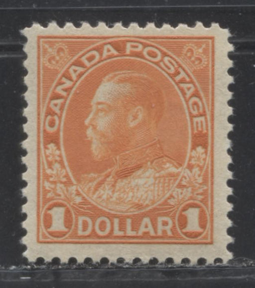 Canada #122 $1 Orange King George V,  Admiral Issue Dry Printing, A Fine LH Example