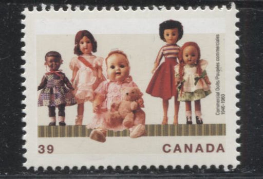 "Canada #1277i 39c Multicoloured, 1990 Dolls Issue, A VFNH Example of the Line Under ""PE"" of Poupees Constant Variety"