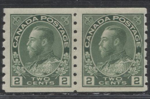 Canada #128ii 2c Green King George V, 1911-1928 Admiral Issue, A Fine Mint LH Pair of the Perf. 8 Vertical Dry Printing Coil