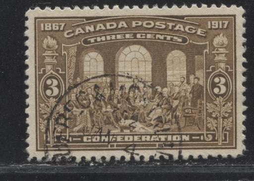 Canada #135 (SG#244) 3c Bistre Brown 50th Anniversary of Confederation, A Beautiful CDS Used Example