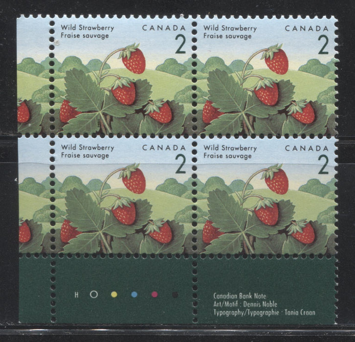 "Canada #1350vi 2c Wild Strawberry, 1991-1998 Fruit & Flag Definitive Issue, LL Inscription Block, Showing the ""Snake in Bush"" Variety, CBN Printing on Harrison Paper"