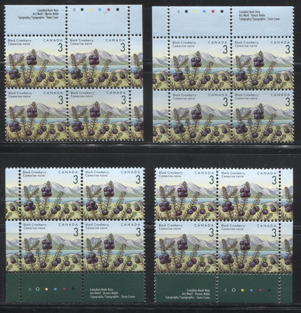 Canada #1351ii 3c Black Crowberry, 1991-1998 Fruit & Flag Definitive Issue, A VFNH Matched Set of Inscription Blocks, Canadian Bank Note Printing on Coated Papers Paper
