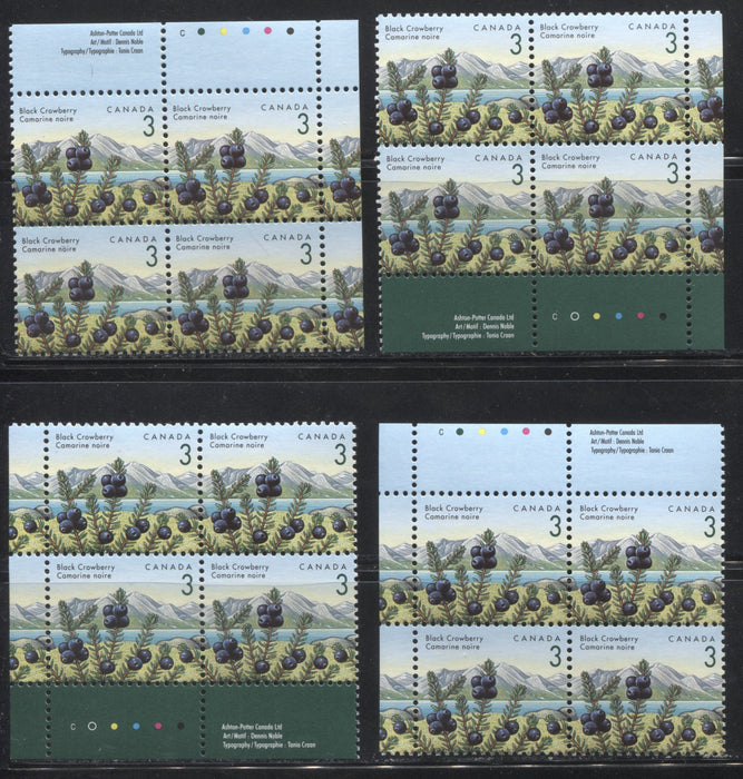 Canada #1351iii 3c Black Crowberry, 1991-1998 Fruit & Flag Definitive Issue, A VFNH Matched Set of Inscription Blocks, Ashton Potter Canada Printing on Coated Papers Paper