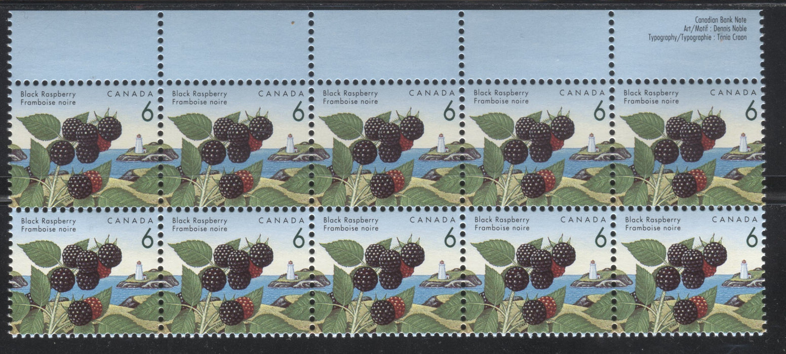 "Canada #1353iv, 6c Black Raspberry, 1991-1998 Fruit & Flag Definitive Issue, a VFNH Top Sheet Margin Block of 10 of the CBN Printing on Coated Papers Paper, Showing Only the ""Blue Thread"" Variety"