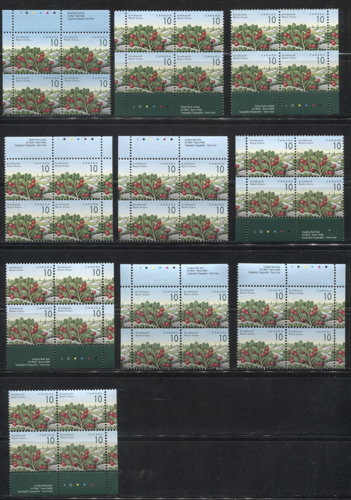 Canada #1354-1354iv 10c Kinnikinnick, 1991-1998 Fruit & Flag Definitive Issue, 10 VFNH Inscription Blocks From Different Printings
